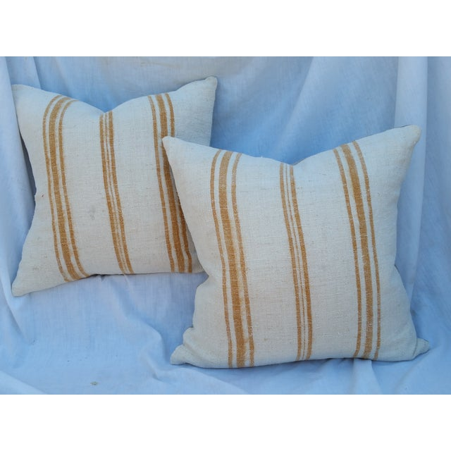 Faded Ochre Grain Sack Pillows - Pair - Image 2 of 6