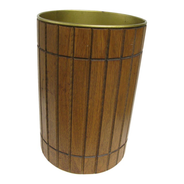 1960s Walnut Gruvwood Waste Basket by National Products Inc. For Sale