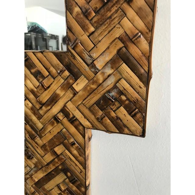 Boho Chic Mid Century Herringbone Pattern Woven Rattan/Bamboo Wall Mirror For Sale - Image 3 of 7