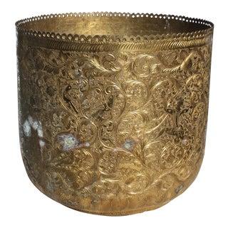 Vintage Etched Brass Planter / Wastebasket For Sale