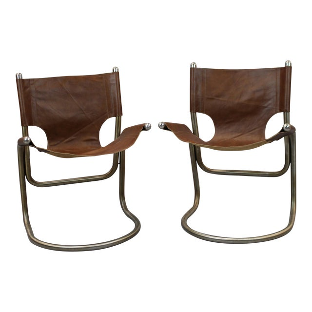 Mid-Century Italian Leather & Aluminum Chairs - A Pair - Image 1 of 6