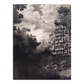 "Illustration of Mayan Ruins, ""Habitat Maya No.6"" For Sale"