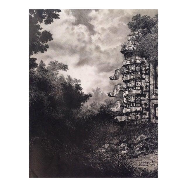 """Illustration of Mayan Ruins, """"Habitat Maya No.6"""" For Sale"""