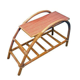 """1950s Boho Chic Shirley and Herbert Ritts Rattan """"Bali Hai"""" Style Two Tier Pretzel Side Table For Sale"""