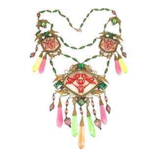 Massive Czech Art Deco Egyptian Revival Painted Glass & Crystal Necklace 1920s For Sale