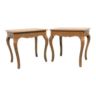 Country French Oak Carved Side Tables - a Pair