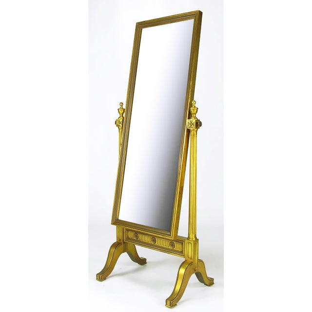 Gilt Wood Neoclassical Full Length Cheval Floor Mirror - Image 3 of 8