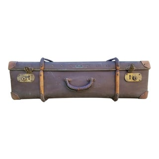 1920s Antique Echt Vulkan Fibre German Leather Suitcase For Sale