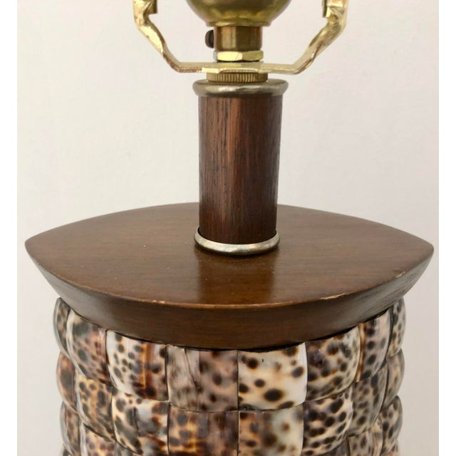 XL Mosaic Shell Table Lamp With Shade For Sale - Image 9 of 11