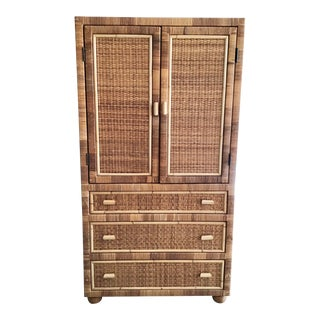 Bielecky Brothers Large Rattan Armoire With Doors and Three Drawers for Storage For Sale