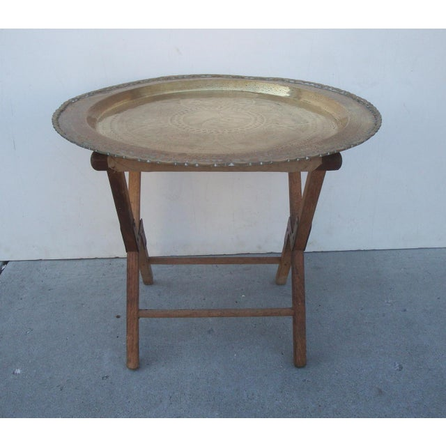 Moroccan Brass Tray Table Amp Camp Stool Base Chairish