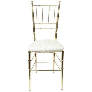 Italian Mid-century Chiavari Faux Bamboo Brass and Upholstered Side Chair For Sale