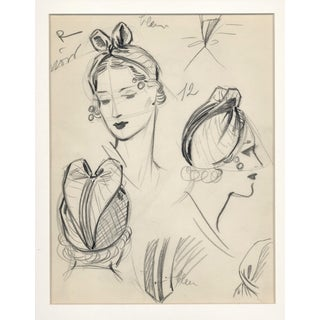 Matted Original French Hat Fashion Design Drawing C 1935 For Sale