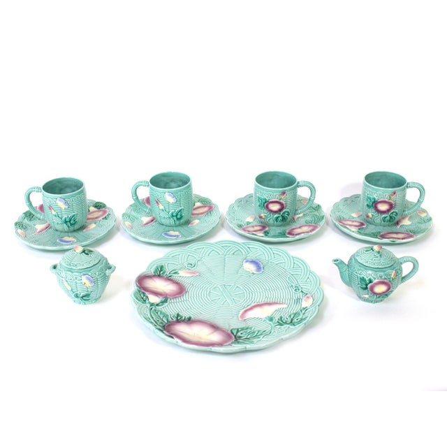 80's Majolica Luncheon or Dessert Tea Set, Morning Glory Pattern Set of 11 For Sale - Image 11 of 11