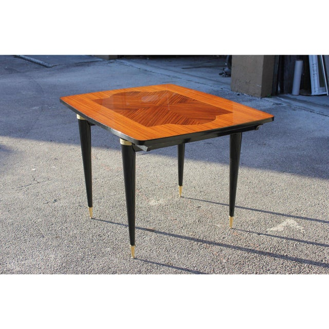 1940s Art Deco Exotic Macassar Ebony Game Table For Sale - Image 11 of 13