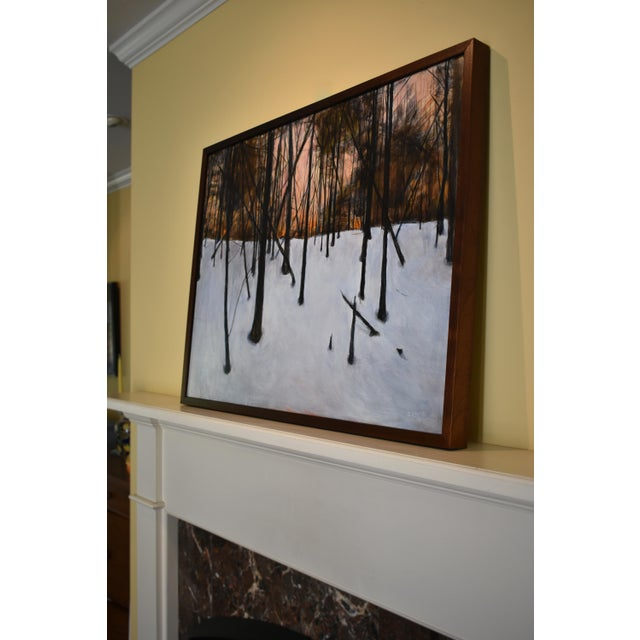 """Orange Stephen Remick """"Sunrise in the Snowy Woods"""" Painting For Sale - Image 8 of 13"""