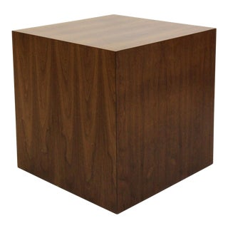 Large Mid Century Walnut Cube Table Pedestal by Dunbar