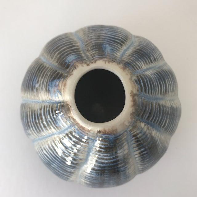 Unique Blue and Brown Ceramic Vase - Image 4 of 5