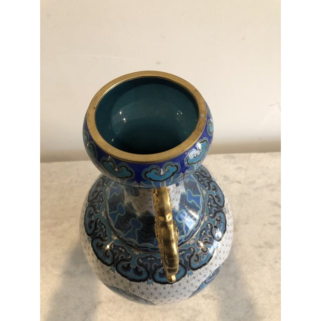 Early 20th Century Chinoiserie Blue & Gold Cloisonné Vase For Sale - Image 4 of 7