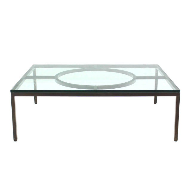 Early 20th Century Modern Rectangle Bronzed Frame Coffee Table For Sale - Image 5 of 5