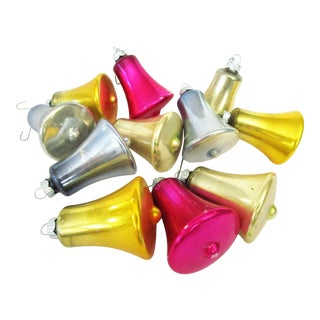 1960s Blown-Glass Bell Shaped Ornaments, S/12 For Sale