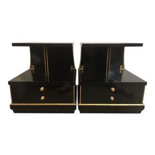 Mid Century Modern End Tables Black and Gold For Sale