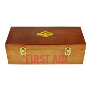 1950's Vintage Philadelphia Electric Company First Aid Kit in Wooden Box