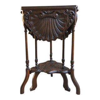 19th Century English Traditional Carved Oak Handkerchief Table