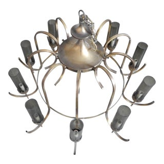 Mid-Century Modern Brass & 10 Smoked Glass Cylinders Americana Chandelier For Sale