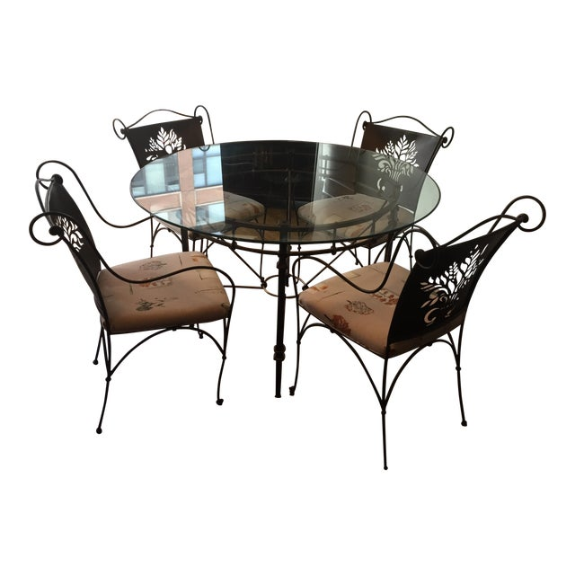 Harden Wrought Iron Glass Top Dining Set - Image 1 of 8