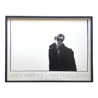 """Nat Finkelstein Rare Vintage 1989 Lithograph Print Framed Iconic Photo Poster """" Andy Warhol White Wall """" 1966 For Sale"""
