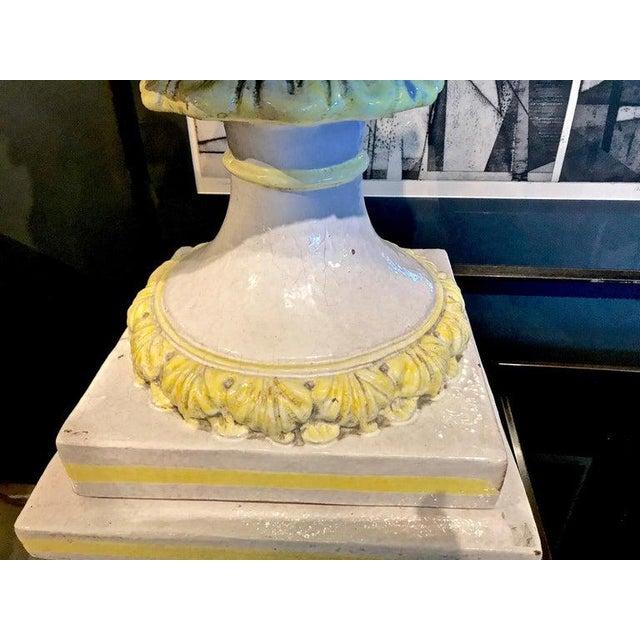 1960s Italian Glazed Terra Cotta Urn on Pedestal For Sale - Image 5 of 10