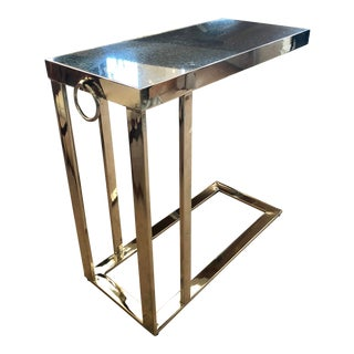 Contemporary Black Granite and Chrome C Table For Sale