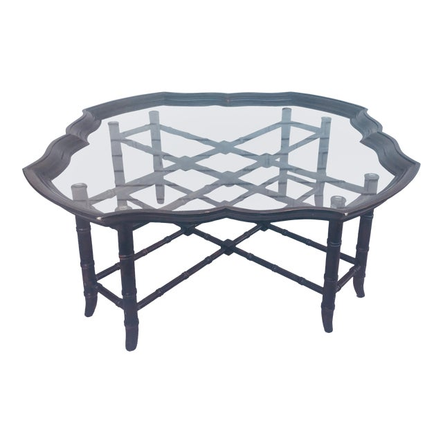 1960s Traditional Baker Style Faux Bamboo Coffee Table With Detachable Glass Tray Top For Sale