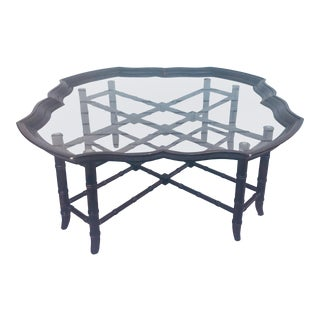 1960s Traditional Faux Bamboo Coffee Table with Detachable Glass Tray Top For Sale
