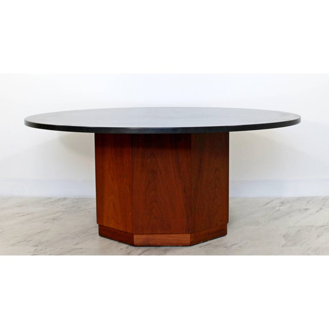 1960s Mid-Century Modern Fred Kemp Slate & Octagon Walnut Base Coffee Table For Sale - Image 5 of 5