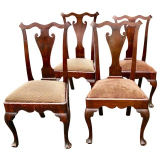 Philadelphia Queen Ann Chairs Walnut 18th Century Savery Type Set of 4 For Sale