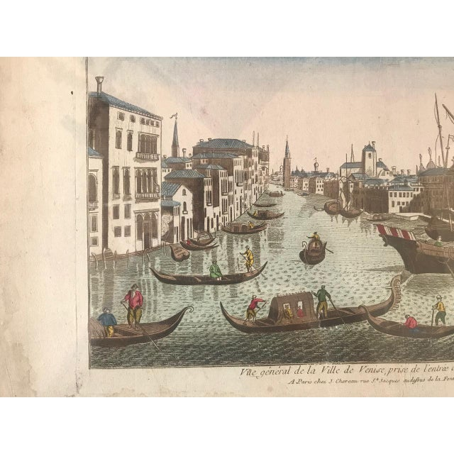 Late 18th Century 18th Century Vue D'Optique Hand-Colored Engraving of the Grand Canal, Venice For Sale - Image 5 of 10