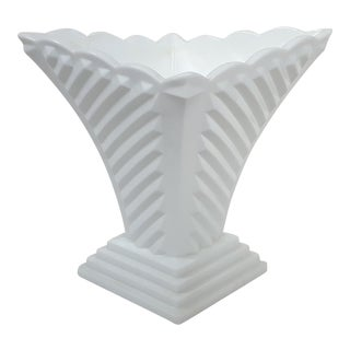 White Milk Glass Art Deco Diamond Ribbed Vase