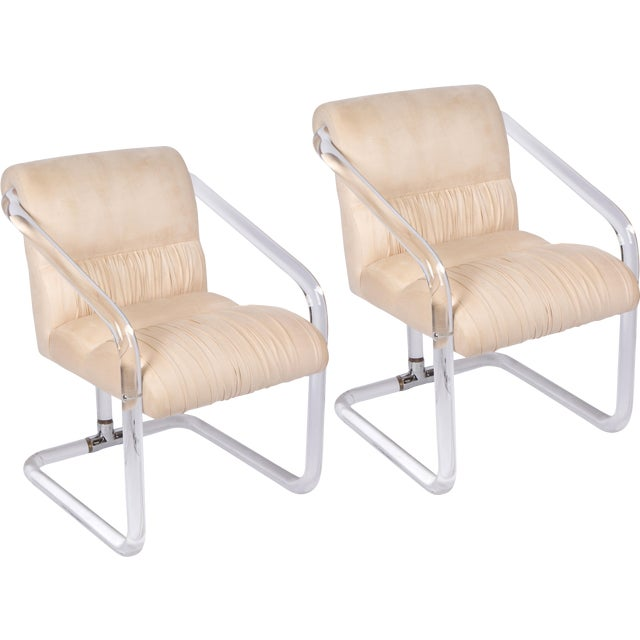 Lion in Frost Lucite and Chrome Chairs - a Pair For Sale