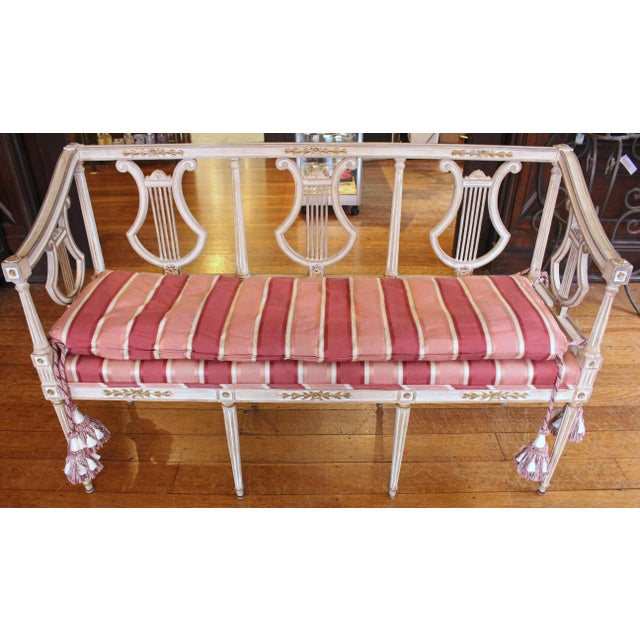 White 1900s Triple Lyre Back Settee For Sale - Image 8 of 8