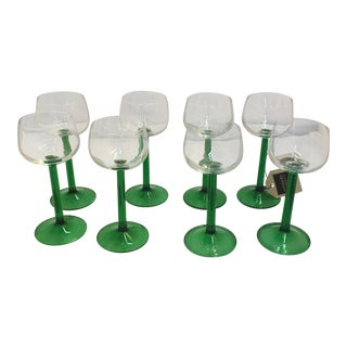 French Green Stemmed Aperitif Glasses - Set of 8
