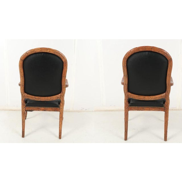 Vintage Mid Century Hand-Carved Italian Carved Wood Leather Bound Armchairs- A Pair For Sale - Image 4 of 13