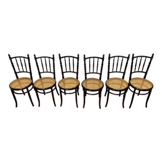 Antique Bentwood Dining Chairs From Fischel- Set of 6 For Sale