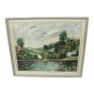 Vintage Oil on Board Impressionist Landscape W/ Heavy Impasto For Sale