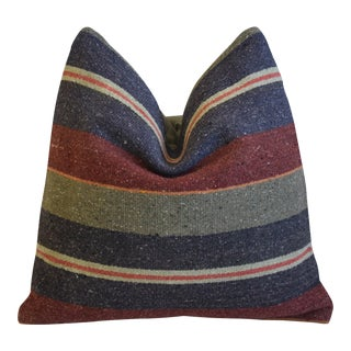 """Blue, Red & Gray Boho-Chic Woven Turkish Carpet Feather/Down Pillow 18"""" Square For Sale"""