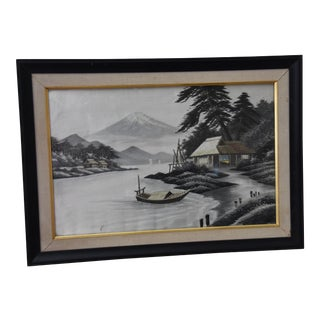 Japanese Silk Embroidery Framed Textile Art For Sale