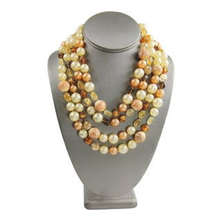 Vintage Multi Strand Glass Bead Statement Necklace For Sale