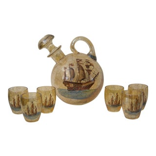 Late 20th Century Hand-Painted & Blown Ship Decanter & Shot Glasses - Set of 7 For Sale