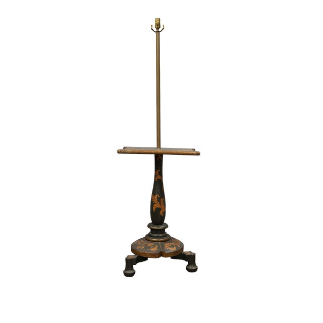 Mid 20th Century Floor Lamp With Table and Golden Leaves For Sale